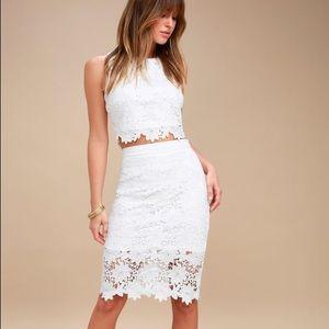 Lulu's White Lace Two-Piece Dress